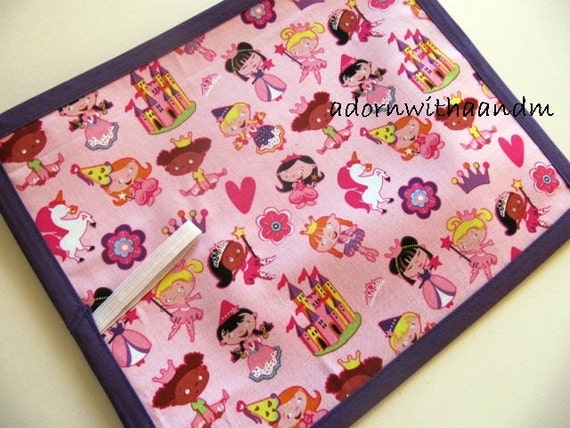 Michael Miller 'lil' princess TRAVEL chalkboard mat placemat (a)
