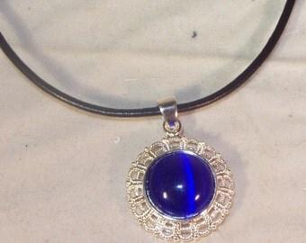 GENUINE GEMSTONE JEWELRY - Dark Blue Cats Eye Cabochon -  Leather Cord Necklace