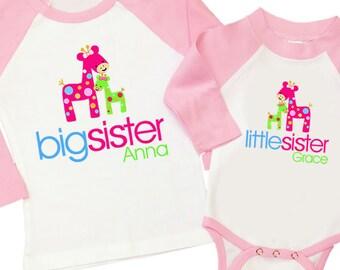 Big sister little sister funky giraffe matching pink/white raglan style sibling set