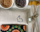 RESERVED for Helen - Bunny Organic Lavender Eye Pillow - Wheat and Flaxseed - Japanese Floral