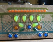 Enid Collins Box Bag, Vintage 1960s Enid Collins Cable Car Wooden Box Purse in Orange, Green, and Blue