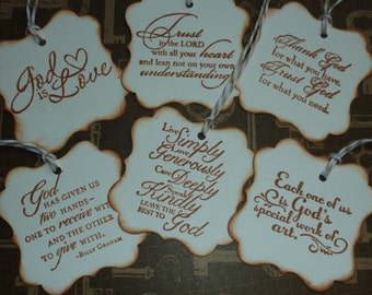 Christian faith gift tags religious tags inspirational message Bible verse handstamped - set of 6