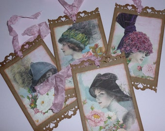 Ladies in Hats tags, Shabby Chic, Floral, Victorian, party favor, Vintage style, bridal shower favor - Set of 4