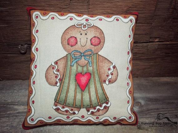 Gingerbread Decorative Pillows : Gingerbread Girl Decorative Throw Pillows by RunningBugFarm