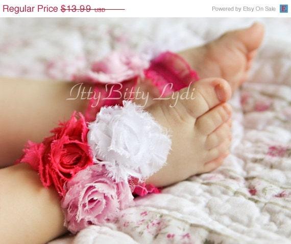 Pinks Trifecta Infant or Toddler Barefoot Sandals, Wedding Sandals, Newborn Photo prop