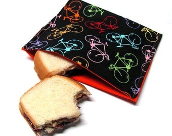 Bikes Reusable Sandwich Bag, Large Size, Lunch Sack, Lunch Kit, Lunch Bag, Food Storage, Modern, Ready to Ship