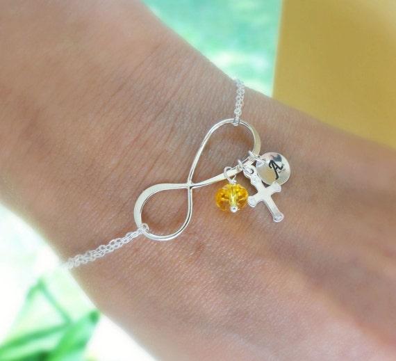 Christian Charm Bracelets: Personalized Infinity Bracelet Cross Charm By BriguysGirls