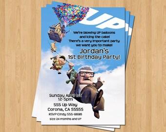 Up Pixar Movie Birthday Party Personalized Invitation .JPEG File