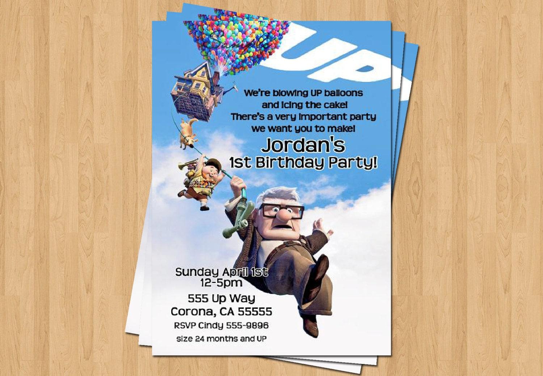 Up Pixar Movie Birthday Party Personalized Invitation Jpeg