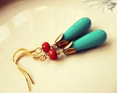 Teal and Red Gold Dangle Earrings