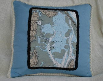 Duxbury Bay, Massachusetts Nautical Pillow
