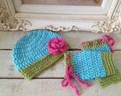 Baby Crochet Aqua Hat with Pink Rose and Sweet Pea Leg Warmers with Pink Bows - Photo Prop