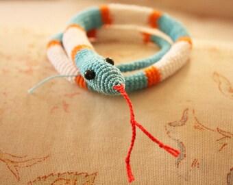 Little Cute Snake amigurumi crochet toy, baby shower gift, crochet snake, knitted toy, knitted snake, blue, aqua blue, orange, white