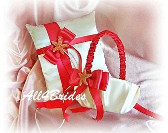 Starfish beach wedding, Dark Coral / Guava ring bearer pillow and flower girl basket