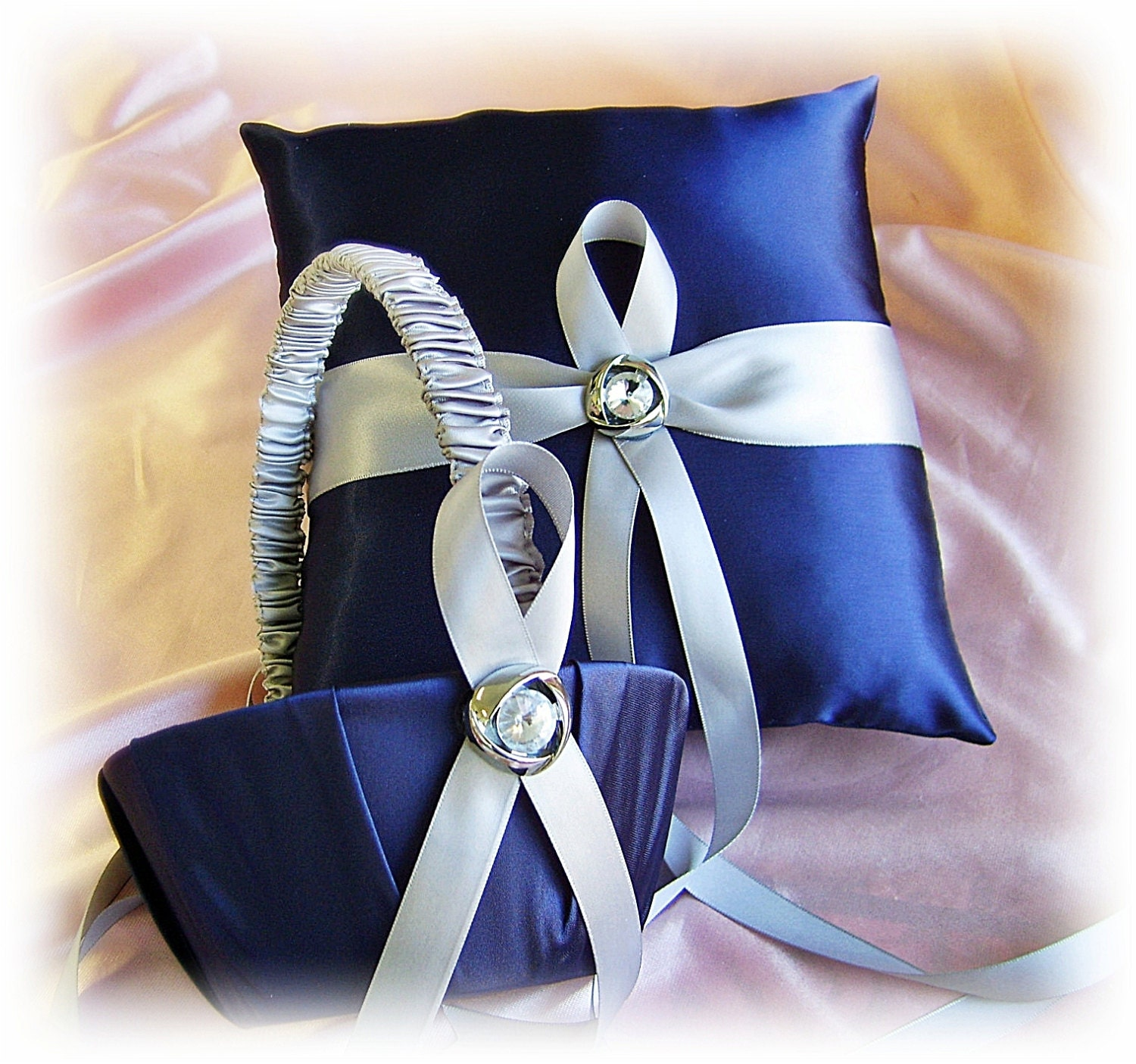 Navy Blue And Silver Wedding Ideas: Navy Blue And Grey Wedding Ring Bearer Pillow And By