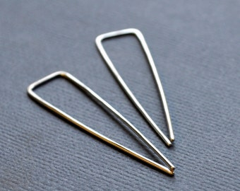 Arrow. Modern Sterling Silver Earrings. Angular. Triangle. Handmade. Recycled. Eco. Sleek. Contemporary.