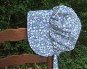 Prairie bonnet, China Blue with pastel flowers , Girls,  pioneer, frontier