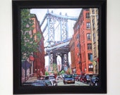 New York Art Brooklyn Painting Manhattan Bridge, Dumbo Brooklyn Framed Original Cityscape Painting by Gwen Meyerson