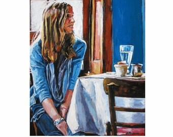 Girl in Bistro, girl in Cafe Painting, Brooklyn Cafe, Figure Interior Scene Fine Art Print 8x10 Painting by Gwen Meyerson