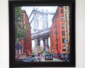 Brooklyn Painting New York Art  Manhattan Bridge, Dumbo Brooklyn bridge art Framed Original Cityscape Painting by Gwen Meyerson