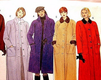Womens Coat Pattern Butterick Misses size 8 10 12 UNCUT 3 lengths Maxi Coat with Detachable Collar Cuffs Sewing Pattern