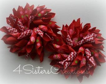 Custom Print Strawberry Girl Shortcake Small Korker Set  with Red Chevron
