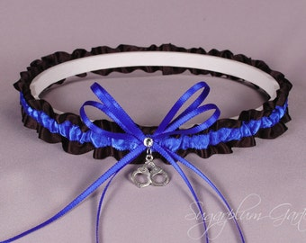 Demi Thin Blue Line Police Officer Wedding Garter in Royal Blue and Black Satin with Swarovski Crystal and Handcuff Charm - Ready to Ship