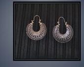 Bohemian Tribal Filigree Ethnic Gypsy Earrings Silver Tone Dangle Hoop  Pierced