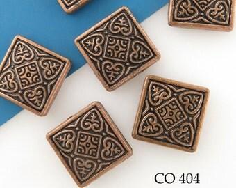 14mm Square Celtic Copper Bead Antique Copper (CO 404) 5 pcs BlueEchoBeads