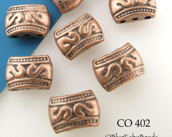 3 Hole Antiqued Copper Beads, Puffy Rectangle, 11mm x 7mm (CO 402) 8 pcs BlueEchoBeads