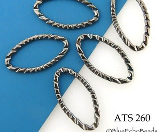 23mm Twisted Oval Pewter Antique Silver Gunmetal Connector Link (ATS 260) 5 pcs BlueEchoBeads