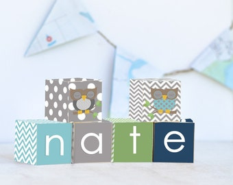 Chevron Owl Name Blocks, Nursery Decor, Nursery Name Personalized Wooden Blocks