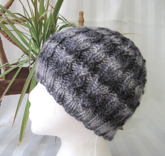 Wool Soy Cabled Beanie. Very Soft Hand Knitted Cap. Grey Stripes. Gray.