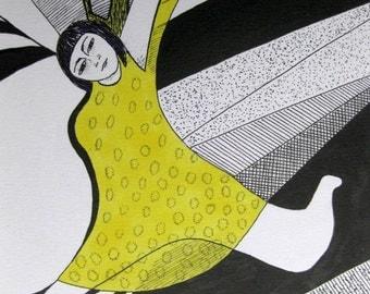 Catching Moths, original drawing 11.7 x 16.5ins, 29.7 x 42cm