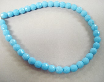 Vintage Glass Opaque Blue Turquoise Faceted Round (39)