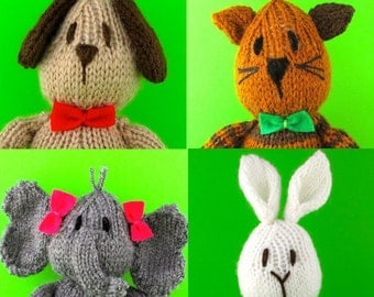 Small Sam Bear and 4 Friends - 5 Animals in all - INSTANT DOWNLOAD PDF Knitting Pattern