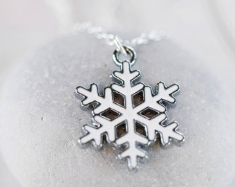 Snowflake Necklace - Winter White Snow Charm Sterling Silver Necklace