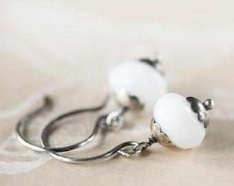 Milk White Czech Glass Earrings Oxidized Sterling Silver Cloudy Opal White