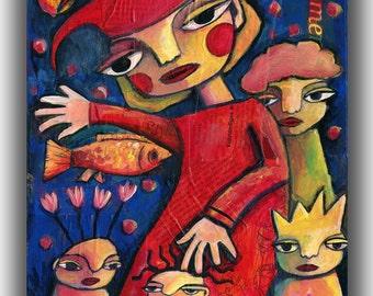 A Fool To Rule, Mixed Media Folk Art Original 10 X 12 wood panel, modern contemporary, primitive raw folk art