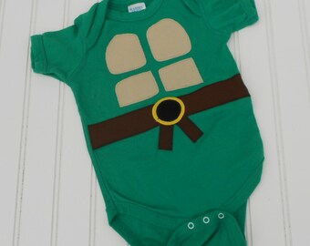 READY to SHIP Great Costume / Baby Shower Gift bodysuit Teenage Mutant Ninja Turtles TMNT sewn cotton applique