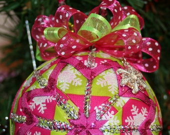Quilted Ornaments Quilt Ball Ornaments Pink Green Silver Snowflakes Handmade Beaded Hanger Snowflake Charm