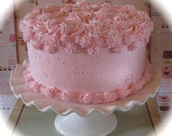 """Fake Rosette Cake Your Choice 1 Rosette Frosting Color Approx. 9""""w x 4.5""""h Fab Photo Prop, First Birthday and Bakery Decor"""