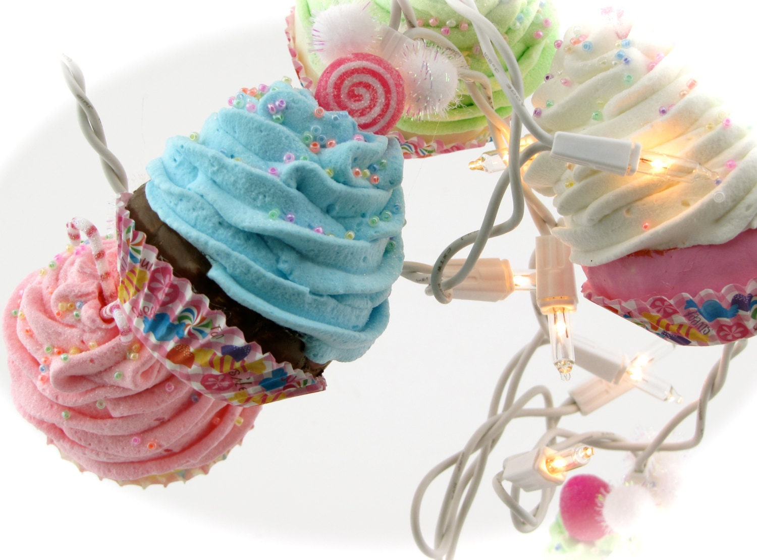 Cupcake Kitchen Decorations Candy Land Cupcake Lights String Of Lights 10 Mini Cupcakes