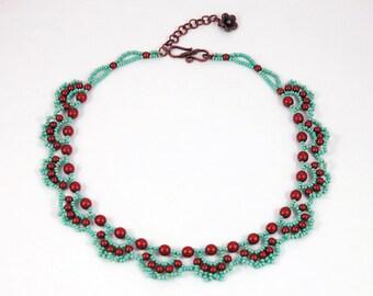Lacey Beadwork Collar Bib Choker Cheveron Necklace Sea Foam Green  Copper Satin Faux Pearls Copper Flower