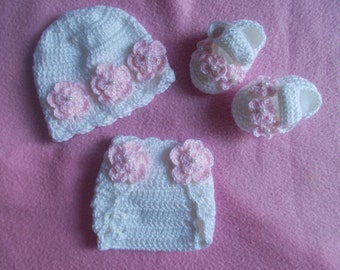 Crochet Baby Girl Handmade,Hat, Booties, diaper cover photo prop, infant, kids, 10016 MADE TO ORDER
