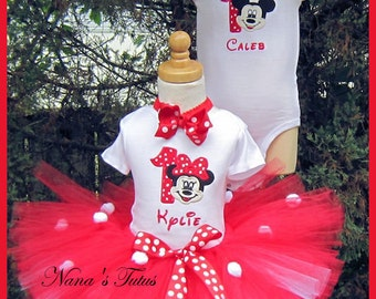 Twin Set, His and Hers, Mickey and Minnie with Number, Party Outfits,Theme Party, in Sizes up 2yrs