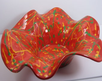 Hand Painted Wavy Plate -- oranges, yellows, greens