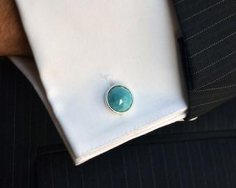 Tuxedo Cuff Links - Swarovski Turquoise Round Swarovski Crystal on a Silver or Gold Cuff Link