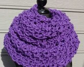 Purple Scarf - Chunky Knit - Shoulder Wrap - Infinity Scarf - Figure 8 Scarf - Knit Wrap - Purple - Wool