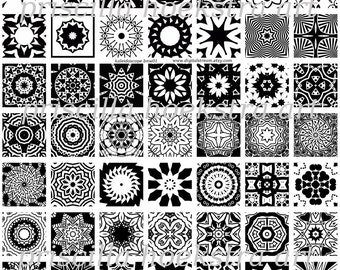 Kaleidoscope Black and White Inchies no.1 Digital Collage Sheet 1x1 Inch Squares 63 Different Images Scrapbooking